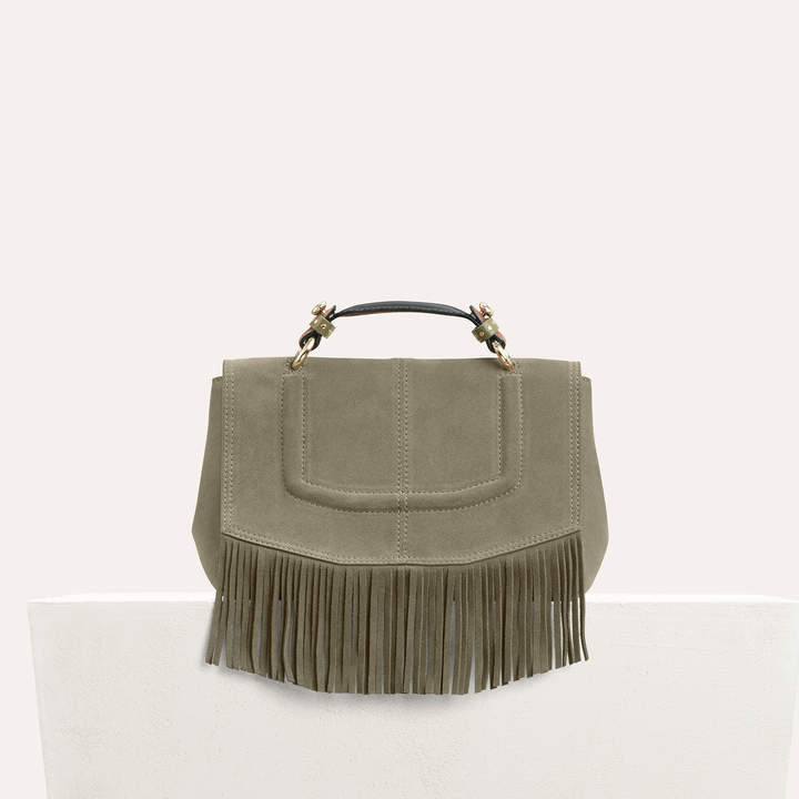 Maje Mini satchel in suede with fringe