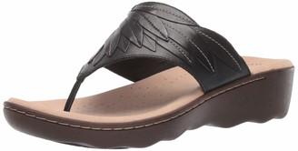 Clarks Women's Phebe Pearl Flip-Flop Black Leather 075 M US