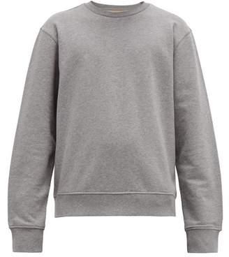 Maison Margiela Leather Elbow Patch Cotton Sweatshirt - Mens - Grey