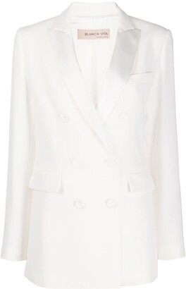 Blanca Vita Double-Breasted Peak Lapel Suit Jacket