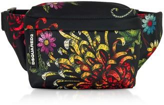 DSQUARED2 Womens Multicolor Flowers Printed Satin Mini Belt Bag