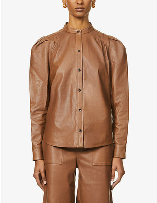 Frame Charlie puff-sleeve leather shirt