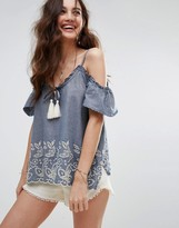 Abercrombie & Fitch Cold Shoulder Flutter Sleeve Top