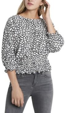 Vince Camuto Women's Smocked Waist Dolman Sleeve Printed Top
