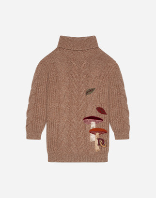 Dolce & Gabbana Knit Turtle-Neck Dress With Mushroom Patch