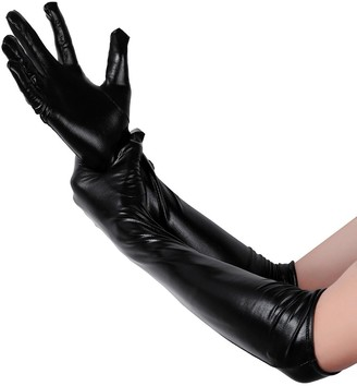 Alvivi Adult Patent Leather Evening Gloves Long Gloves Elbow Length Opera Gloves Fancy Dress Clubwear Black Medium