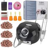 Subay 30000rpm Pro Electric Nail Drill Machine Pedicure Manicure Kits File Drill Bits Sanding Band with Cleaning Cleaner Metal+Plastic Brushes Accessory Nail Salon Nail Art Tools