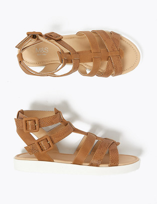 Marks and Spencer Kids' Snakeskin Texture Gladiator Sandals (13 Small - 6 Large)