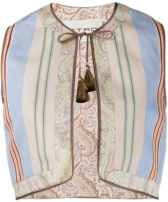 Etro Striped Cropped Waistcoat