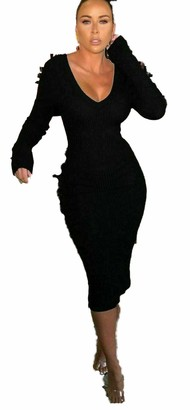 GirlzWalk Ladies Long Sleeve Knitted V Front and Back Ribbed Bodycon Party Dress (Black 8-10)