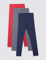 Marks and Spencer 3 Pack Cotton Leggings with Stretch (3-14 Years)