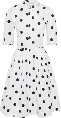Oscar de la Renta Flared Belted Polka-dot Cotton-twill Dress