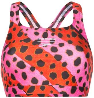 House of Holland Cheetah Stripe Bralet Bikini Top