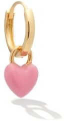 Alison Lou Heart Small Enamel And 14kt Gold Single Earring - Pink