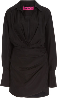 GAUGE81 Naha Draped Silk Mini Shirt Dress