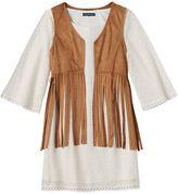 My Michelle Girls 7-16 Crochet Dress & Fringe Vest Set