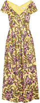 RED Valentino Pleated Floral-print Cotton-blend Midi Dress - Yellow