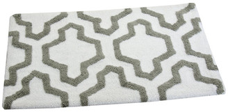"Saffron Fabs Anti-Skid Machine Washable Cotton Geometric Bath Rug, White/Grey, 24""x"