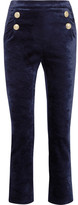 Pierre Balmain Stretch-velvet Skinny Pants - Navy