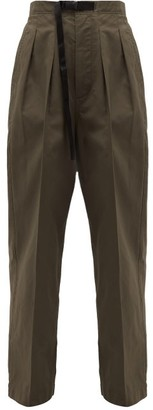 Chimala Clip-buckle Belted High-rise Cotton Trousers - Khaki