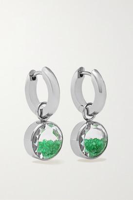 Moritz Glik 18-karat Gray Gold Palladium, Sapphire Crystal And Emerald Earrings - Silver