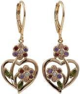 Ivy and Max Rose Gold Finish Multi-color Cubic Zirconia Heart Flower Girls Earrings