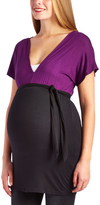 Glam Black & Eggplant Surplice Maternity Tunic