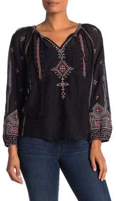 Johnny Was Ava Embroidered Split Collar Blouse