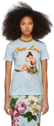 Dolce and Gabbana Blue Pin-Up Free Love T-Shirt