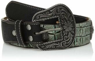 Nocona Belt Co. Women's Turquoise Crocodile Silver Concho Taper Belt Small