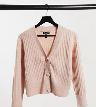 New Look Petite ribbed button through cardigan in pink