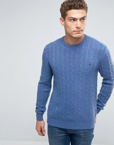 Jack Wills Merino Jumper In Cable Cornflower