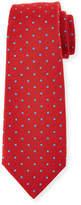 Kiton Woven Dot-Pattern Twill Silk Tie