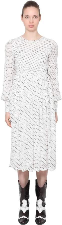 Ganni Polka Dots Viscose Midi Dress