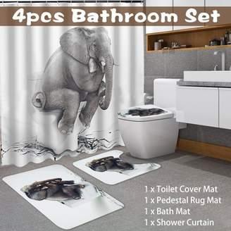 Kadell 4Pcs/Set Polyester Elephant Pattern Bathroom Waterproof Shower Curtain + Lid Toilet Cover + Bath Mat + Pedestal Rug Non-slip Home Decor