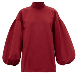 Valentino Neck-tie Cotton-blend Faille Blouse - Womens - Red