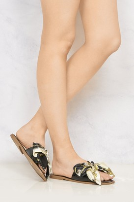 Miss Diva Paris Chain Print Silk Bow Open Toe Flat Sliders in Black