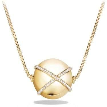 David Yurman Solari Pendant Necklace With Diamonds In 18K Gold, 23Mm