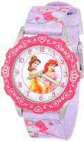 Disney Kids' W000407 Tween Glitz Princess Stainless Steel Time Teacher Pink Bezel Printed Strap Watch
