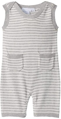Elegant Baby Stripe Shortalls (Infant) (Grey) Kid's Jumpsuit & Rompers One Piece