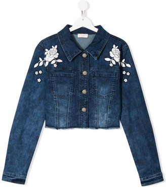 MonnaLisa TEEN embroidered denim jacket