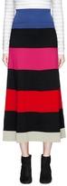 Sonia Rykiel Striped wool-blend mixed knit midi skirt