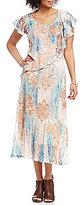 Reba Scoop Neck Flutter Sleeve Popover Printed Mesh A-Line Dress