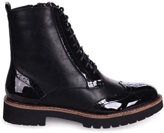 Linzi JESS - Black Patent & Nappa Brogue Style Lace Up Military Boot