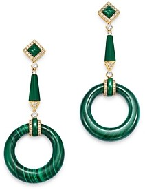 Bloomingdale's Malachite & Diamond Circle Drop Earrings in 14K Gold - 100% Exclusive