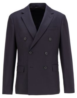 HUGO BOSS Double-breasted slim-fit jacket in structured wool
