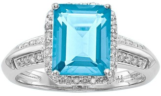 Sterling Emerald-Cut Gemstone & 1/10 cttw Diamond Ring