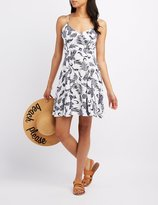 Charlotte Russe Printed Lace-Up Skater Dress