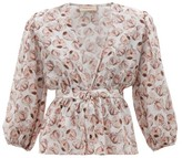 Adriana Degreas Aglio-print Tie-front Silk-charmeuse Blouse - Womens - White Print
