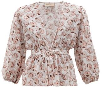 Adriana Degreas Aglio-print Tie-front Silk-charmeuse Blouse - White Print